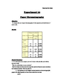 paper chromatography for student research Paper chromatography is an inexpensive method for analyzing some types of chemical mixtures a candy chromatography science kit is available to do several simple and fun paper chromatography experiments.
