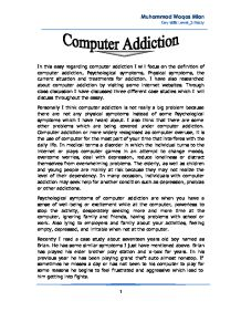 significance of the study for computer addiction Addiction is a condition that results when a person ingests a substance (for example, alcohol, cocaine, nicotine) or engages in an activity (such as gambling, sex, shopping) that can be pleasurable but the continuation of which becomes compulsive and interferes with ordinary responsibilities and.