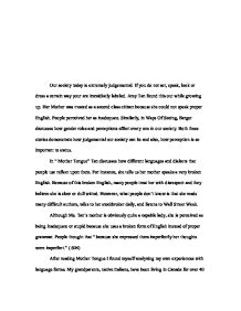Genetically Modified Food Essay Thesis Page  Zoom In English Essays Topics also Research Essay Proposal Example What In Our Society Leads To Stereotypes And Prejudgements  A  Essay Samples For High School Students