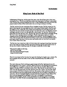the role and purpose of the fool in king lear by william shakespeare In many of william shakespeare s plays the role of the fool in shakespeare essay the fool in the play king lear.