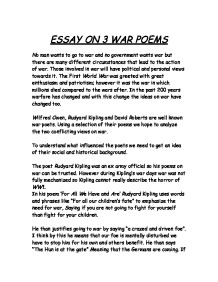 great war poetry essay Owen wilfred owen is a world war one poet, with many poems such as dulce et decorum est and anthem for doomed youth, two very influential poems about.