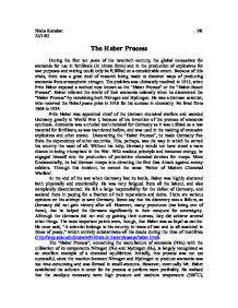 haber process essay The nitrogen bomb by learning to draw fertilizer from a clear blue sky,  but by 1912 the haber-bosch process was a viable means of producing fertilizer.