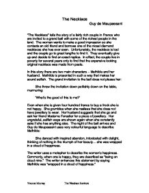 essay on the necklace by guy de maupassant essay on the necklace the necklace quot by guy de maupassant summary of narrative themes page