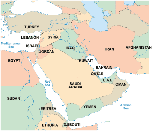 map showing uae and the arabian peninsular