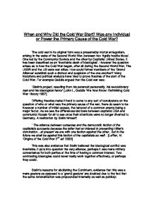How To Write A Proposal Essay Outline When And Why Did The Cold War Start Was  Science Topics For Essays also Good Health Essay Why Did The Cold War Start  Alevel History  Marked By Teacherscom Essay Of Science