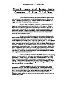 Cold war dbq essay