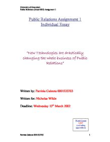 public relations assignment 5 kodak essay Start your essay with a short overview of the organization and the theories and effects of public relations, under the section assumptions and lay theories which of these theories does the content of your chosen site most closely align social marketing, week 5 assignment help.