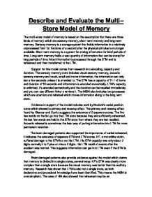 describe and evaluate the multistore model Describe the multi store model  the multi store model atkinson shiffrin components and teacher marked outline and evaluate the multi store model.