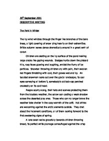 winter descriptive essay the park in winter alevel psychology  a walk in the park a level psychology marked by teachers comthe park in winter