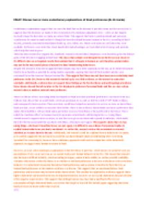 Evolutionary Explanations for Food Preference Essay Plan