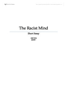 the racist mind essay Jasper jones themes & examples create a mind map jasper jones themes &amp examples - mind map by tom kunc - 2 years ago 40930 print download as pdf.