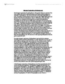 biological explanation of schizophrenia essay