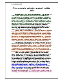 Genetically Modified Food Essay: Genetically Modified Foods Essay The ...