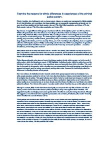 differences in ethnic experiences of criminal justice system essay The different of- fending patterns and justice system experiences of members of  differ-  summarize and comment on the contents of each of the essays i have.