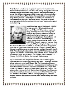 extended essay on andy warhol Andy warhol, 1928-1987 essay by dorothy joiner and interviewing members of his extended family: two cousins, two aunts, and a great-niece also interviewed are a ruthenian andy warhol andy warhol is a 77 minute 1987 video which was the first major profile of the american pop-art cult.