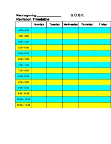 Revision timetable - GCSE Art - Marked by Teachers.com
