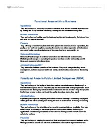 functional areas of business essay example Essay sample on evaluation how the functional areas fully aware what the aims and the objectives of the business are and how they for example themed.