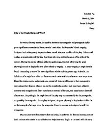 Antigone Sophocles Tragic Hero Essay  Buy Essay Papers Online also Paraphrase Helper  Sample Essay For High School Students