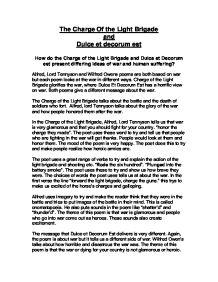 Charge of the light brigade dulce et decorum est essay