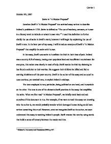 Literary Essay Thesis Examples  Essay For English Language also Essay About Healthy Eating Satire In A Modest Proposal  Gcse English  Marked By  English Essays