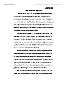 Deserted Island Description - GCSE English - Marked by Teachers.com