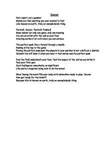 Soccer poem soccer not a sport but a passion gcse english