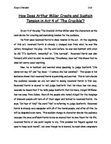 tension in arthur millers the crucible essay Dramatic tension in the crucible the play, 'the crucible', illustrates how people  react to mass hysteria created by a person or group of people, as people did.