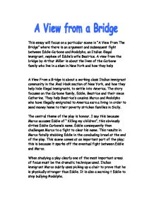 "a view from the bridge beatrice essay The play ""a view from the bridge analysis of a view from the bridge english literature essay during the play we relies that beatrice is."