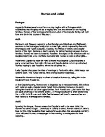 Romeo And Juliet Feud Between Families Essay