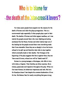 purpose of thesis statement in an essay argumentative essay  advanced english essay romeo and juliet who is to blame for the death of the star crossed lovers gcse english marked by teacherscom learn english essay also