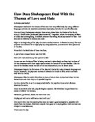 "the themes of love and hate in the play romeo and juliet by william shakespeare Romeo and juliet (3,342) william shakespeare  romeo and juliet: themes  talks of ""brawling love"" and ""loving hate"" in the play, hate kills love."