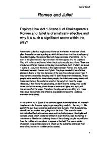 Language & Literature Coursework: Shakespeare; Romeo & Juliet Essay