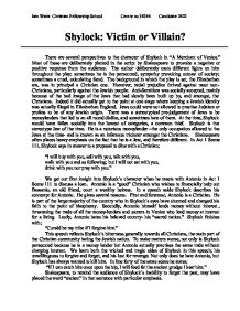 Shylock- victim or villain? - GCSE English - Marked by Teachers.com