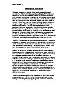the merchant of venice-gcse language and literature coursework