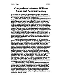 a comparison of two poems by seamus heaney and william shakespeare Comparison of 2 poems mid term break by seamus heaney and shall i compare thee to a summers day by william shakespeare seamus heaney was born `for this piece of coursework on seamus heaney, i will be choosing two poems mid-term break and personal helicon, and i'll be writing a commentary on each.