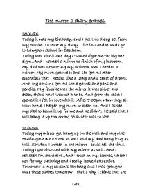 the mirror diary entries gcse english marked by teachers com page 1 zoom in