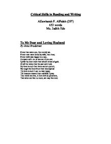 love in anne bradstreet poetry essay Anne bradstreet--themes and discussion questions: bradstreet's poetry can be divided into how does the first poem reflect on the couple's essential love and.