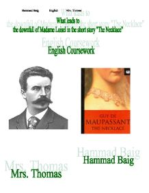 a comparison of scheherazade and madame loisel characters in guy de maupassants the necklace Wells - a comparison of a vendetta by guy de maupassant and the necklace guy de maupassant and the gift a character, madame loisel, who.