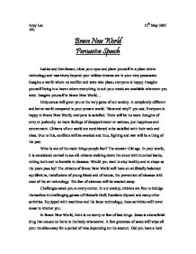 brave new world essay gcse english marked by teachers com page 1 zoom in