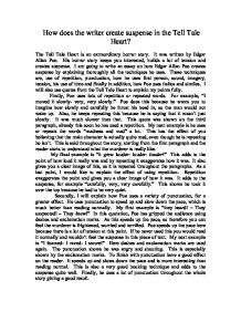 the tell tale heart essay suspense Because he thinks he can hear the old man's heart, he thinks others can too therefore, he kills the how does the setting affect the characterization, theme, and the mood of the story of the the setting of the tell-tale heart by edgar allan poe contributes to the other elements of the short story.