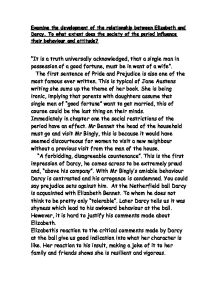 the effect of pride and prejudice on darcy and elizabeths relationship essay