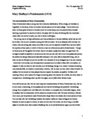 narration in frankenstein essay