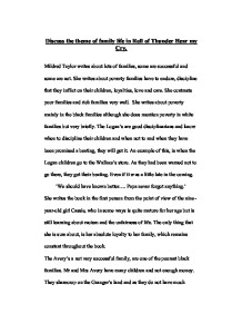 discuss the theme of family life in roll of thunder hear my cry  page 1 zoom in