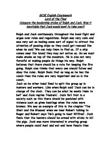 leadership styles lord of the flies essay Lord of the flies- leadership essays: over 180,000 lord of the flies- leadership essays, lord of the flies- leadership term papers, lord of the flies- leadership research paper, book reports 184 990 essays, term and research papers available for unlimited access.