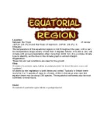 Life and Climate in the Equatorial Region