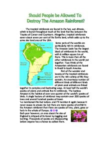 Logging in the Tropical Rainforests - Essay Example