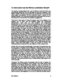 the weimar constitution essay