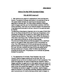 I need help on a essay for World War I?