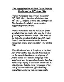 assassination at sarajevo essay Visit us for info on the assassination of franz ferdinand when he was assassinated on 28 june 1914 in sarajevo the assassination was the spark.