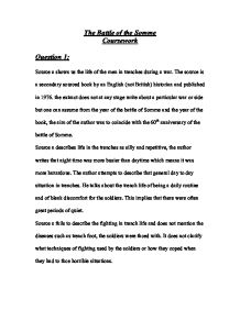 the battle of the somme gcse coursework assignment Gcse history coursework: assignment 1 question explain why the battle of the somme failed to achieve british objectives there were many reasons as to why the.